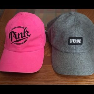 Two VS PINK hats. NWOT never worn